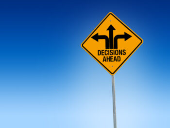 Decisions ahead road sign illustration